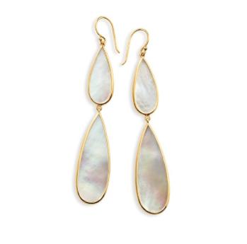 Ippolita Polished Rock Candy 18K Gold Long Double Teardrop Earrings