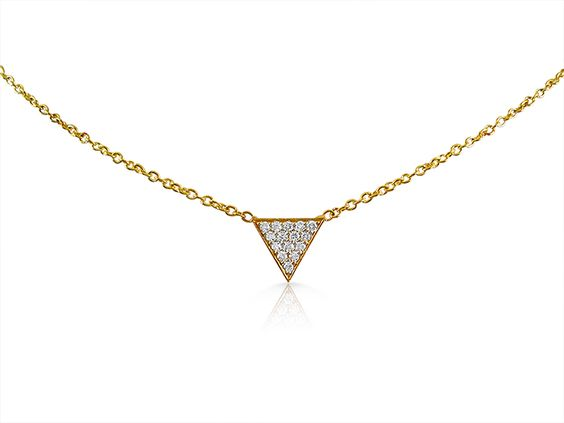 Small Pave Diamond Triangle Necklace, Fashioned in 18K Yellow Gold, Featuring Round Diamonds|