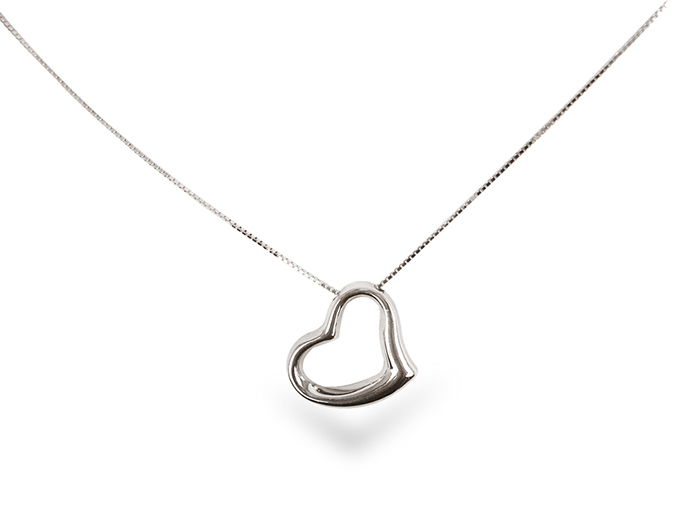 Roberto Coin small heart necklace, fashioned in 18k white gold.|