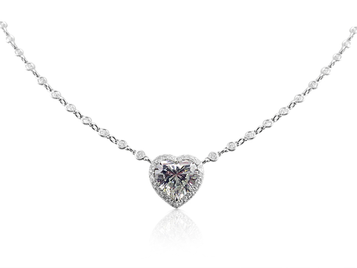 Alson Signature Collection Platinum Diamond Necklace, Featuring a 3.22 Carat Heart Shaped Diamond, I Color, SI1 Clarity, EGL Certified, Accented with 100 Round Diamonds =1.36cts Total Weight, on a Diamond by the Yard Chain