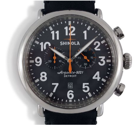 Shinola Runwell Chronograph 47MM Stainless Steel Watch, Matte Black Dial, Black Leather Strap and Quartz Movement