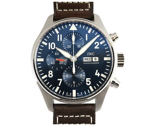 IWC Portofino Le Petit Prince Chronograph 43MM Watch, Fashioned in Stainless Steel, Featuring a Blue Dial, Brown Calf Strap and Automatic Movement|