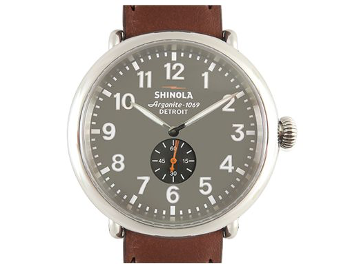 Shinola Runwell 47MM Stainless Steel Watch, Featuring a Grey Dial, Cognac Leather Strap and Quartz Movement|