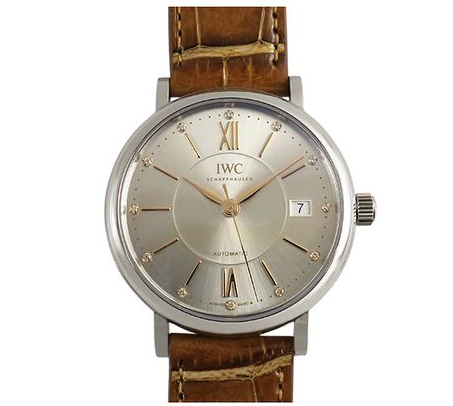 IWC Portofino 37MM Watch, Fashioned in Stainless Steel, Featuring a Silver Diamond Dial, Brown Alligator Strap and Automatic Movement