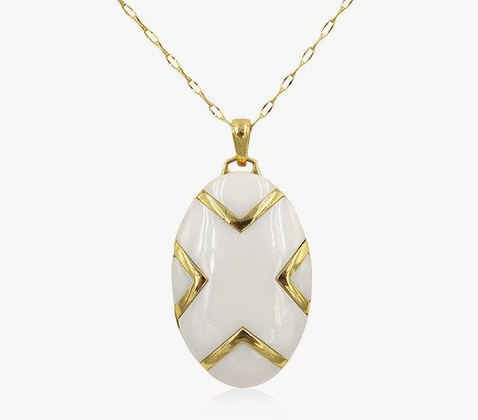 "Monica Rich Kosann 18K Yellow Gold Necklace, Featuring an Oval Locket with a White Ceramic ""X"", on a 30"" Belcher Chain"