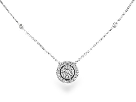 "Penny Preville 18K White Gold 18"" Diamond Necklace, Featuring 31 Round Diamonds =.59cts Total Weight, with Two Eyeglass Settings on the Chain"