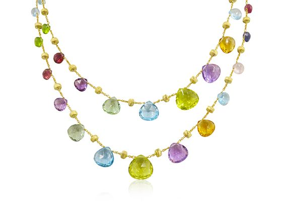 "Marco Bicego Paradise Necklace, Fashioned in 18K Yellow Gold, Measuring 36"" in Length and Featuring Tabeez Cut Multi Colored Gemstones"