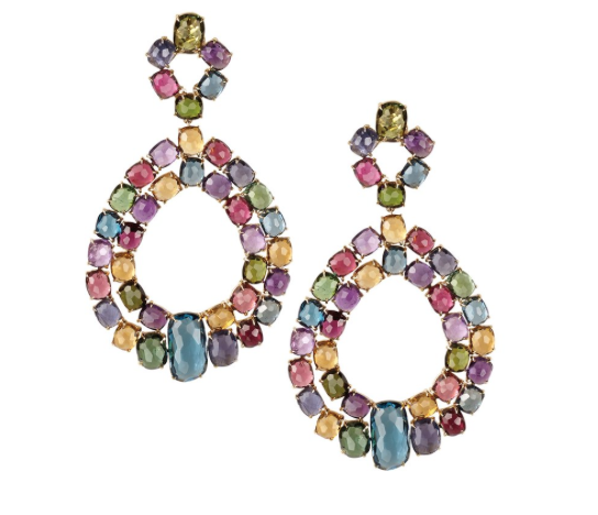 Marco Bicego Murano Collection 18K Mixed Stone Large Double Chandelier Earrings in Yellow Gold|
