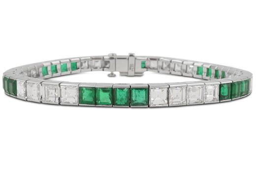 Alson Estate Collection Platinum Diamond & Emerald Bracelet, Featuring 23 Asscher Cut Diamonds =9.00cts Total Weight and 23 Square Emeralds =10.00cts Total Weight|