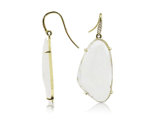 Lauren K 18K Yellow Gold Earrings, Featuring 2 Rainbow Moonstones =20.75ctw, Accented with 10 Round Diamonds 