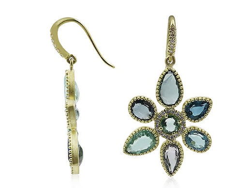 Lauren K 18K Yellow Gold Flower Earrings, Featuring 14 Green Tourmalines =12.04ctw, Accented with Round Diamonds =.29ctw