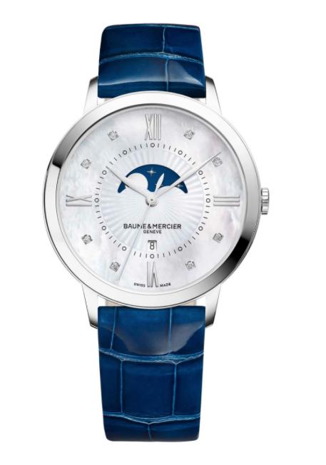 Baume et MercierClassima Moon-Phase Watch in Steel, Blue Alligator Strap 