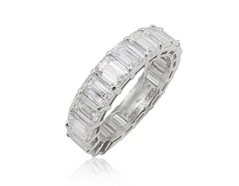 Joshua J. Platinum Shared Prong Eternity Band, Featuring 20 Emerald Cut Diamonds =6.15ctw, G-H Color, VS Clarity