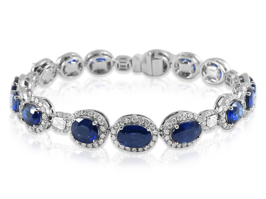 Alson Signature Collection 18K White Gold Bracelet, Featuring 15 Oval Blue Sapphires =9.19ctw, 5 Princess Cut Diamonds =.78ctw and 289 Round Diamonds =3.06ctw