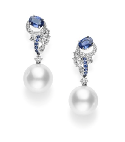 Mikimoto Classic Blue Earrings, Featuring 13mm White South Sea Cultured Pearl Earrings Accented with Sapphires and Diamonds|