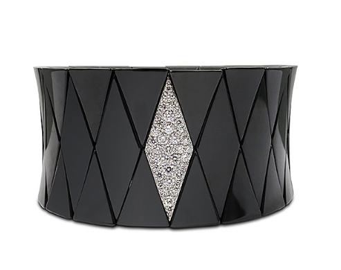 Roberto Demeglio Black Ceramic Diva Stretch Bracelet, with an 18K White Gold Element Featuring Round Diamonds =.76ctw