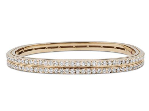 Roberto Coin 18K Rose Gold Portofino Two-Row 1.91ctw Diamond Bangle Bracelet