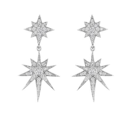Penny Preville 18K White Gold 1.26CTW Diamond Double Starburst Dangle Earrings