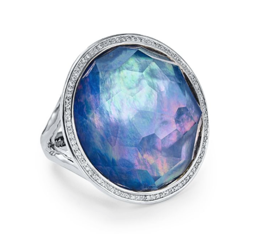 Ippolita Silver Lollipop Ring, Featuring a Clear Quartz, Mother of Pearl and Lapis Triplet, Accented with Round Diamonds