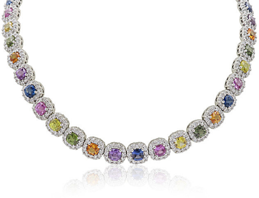 Alson Signature Collection 18K White Gold Cushion Halo Necklace, Featuring 49 Cushion Shaped Multicolor Sapphires =26.78ctw, Accented with 588 Round Diamonds =9.68ctw
