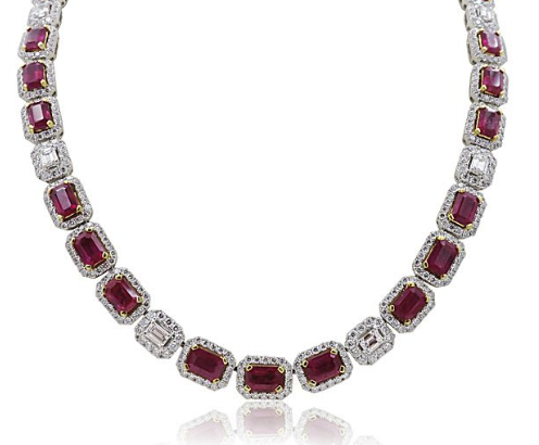 Alson Signature Collection 18K White & Yellow Gold Necklace, Featuring 33 Emerald Cut Rubies =19.34ctw, 11 Emerald Cut Diamonds =1.93ctw and 725 Round Diamonds =7.45ctw