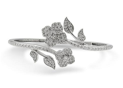 Penny Preville 18K White Gold 1.75ctw Diamond Floral Wrap Around Cuff Bracelet