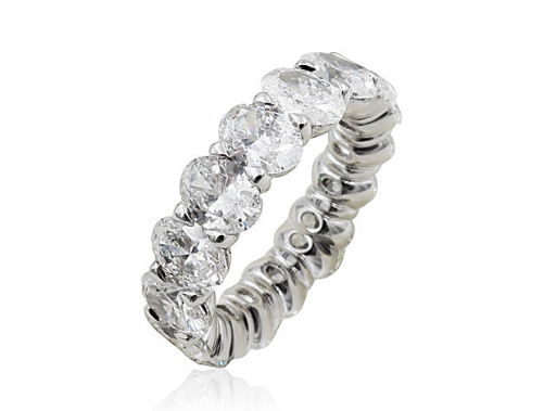 Alson Signature Collection Platinum Eternity Band, Featuring 16 Oval Diamonds =6.61ctw, G-H Color, VS Clarity