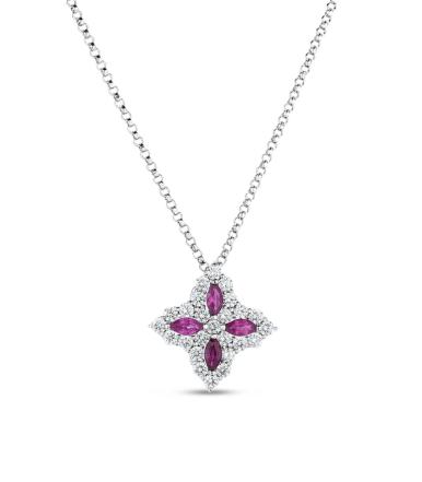 Roberto Coin 18K White Gold Princes Flower Diamond and Ruby Pendant|