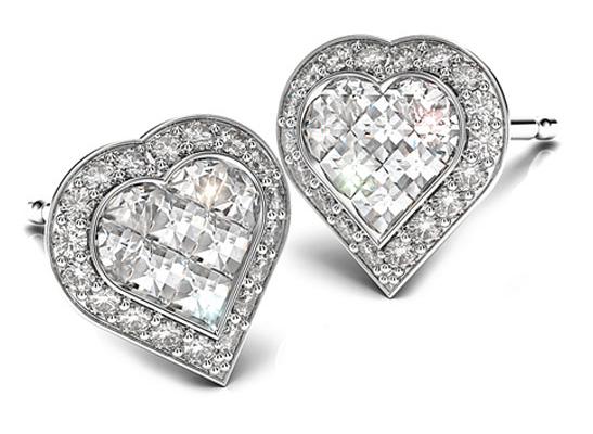 Bez Ambar Diamond Matrix Heart Earrings
