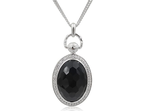 "Monica Rich Kosann Silver Oval Pocket Watch Locket Necklace, Featuring Black Onyx, Accented with White Sapphires, on a 32"" Double Wheat Chain"