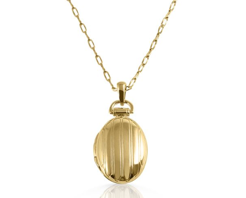 "Monica Rich Kosann 18K Yellow Gold Necklace, Featuring a Petite Pinstripe Oval Locket, on a 30"" Delicate Belcher Chain"