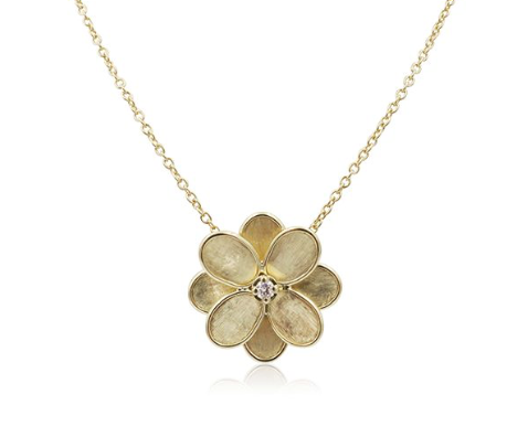 "Marco Bicego 18K Yellow Gold 16.5"" Lunaria Petali .08ctw Diamond Necklace"