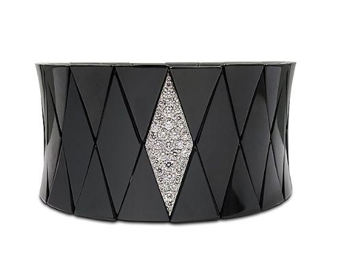 Roberto Demeglio Black Ceramic Diva Stretch Bracelet, with an 18K White Gold Element Featuring Round Diamonds