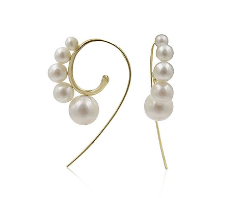 Ippolita 18K Yellow Gold Nova Cultured Freshwater Pearl Curved Wire Earrings 