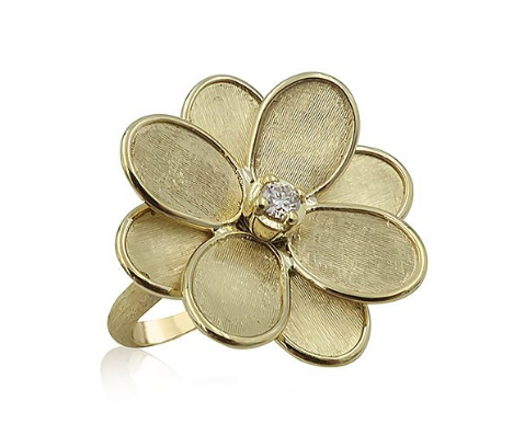Marco Bicego 18K Yellow Gold Lunaria Petali Diamond Flower Ring