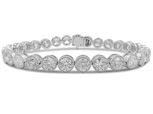 "Alson Signature Collection 18K White Gold 7"" Milgrain Link Bracelet, Featuring 29 Round Diamonds"
