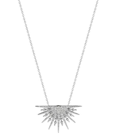 "Penny Preville 18K White Gold 18"" Small Sunburst .84ctw Diamond Necklace"