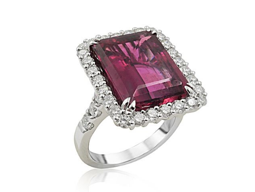 Alson Signature Collection 18K White Gold Halo Ring, Featuring a 10.51ct Rubelite, Accented with 34 Round Diamonds =1.52ctw