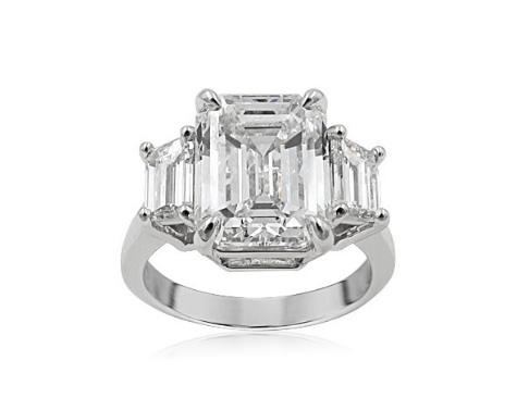Alson Signature Collection Platinum Three-Stone Engagement Ring, Featuring a 5.52 Carat Emerald Cut Diamond, G Color, VVS2 Clarity, GIA Certified, Accented with 2 Trapezoid Diamonds =1.25ctw, G Color, VS1 Clarity
