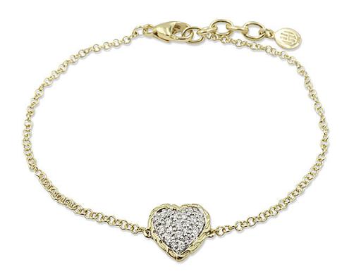 John Hardy 18K Yellow Gold Classic Chain .15ctw Diamond Pave Heart 1.8MM Rolo Chain Bracelet