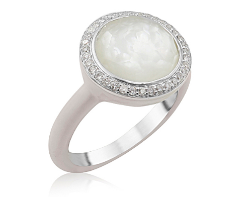 Ippolita Carnevale Silver & White Ceramic Ring, Featuring a Clear Quartz Over Mother of Pearl Doublet, Accented with Round Diamonds =.16ctw