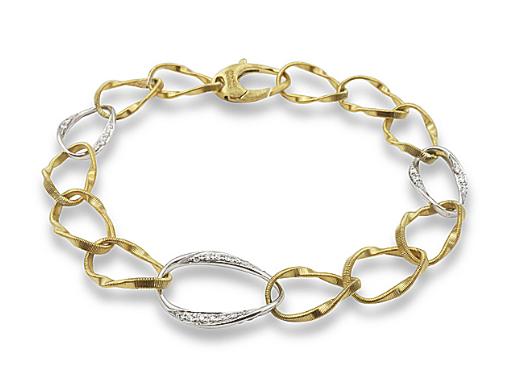 """Marco Bicego 18K Yellow & White Gold 7.75"""" Marrakech Onde Bracelet, Featuring 74 Round Diamonds =.56ctw"""