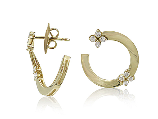 Roberto Coin 18K Yellow Gold Love In Verona Earrings, Featuring 16 Round Diaomds =.34ctw