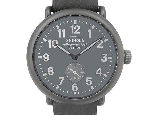 Shinola Runwell 41MM Gunmetal AFC Watch, with a Black Dial, Black Leather Strap and Quartz Movement