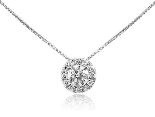 Alson Signature Collection 14K White Gold Diamond Halo Necklace, Featuring a .52 Carat Round Diamond, H Color, I1 Clarity, Accented with 12 Round Diamonds =.23cts Total Weight 