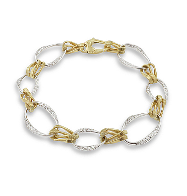 "Marco Bicego 18K Yellow & White Gold 7.75"" Marrakech Onde Bracelet, Featuring 74 Round Diamonds =.56ctw"