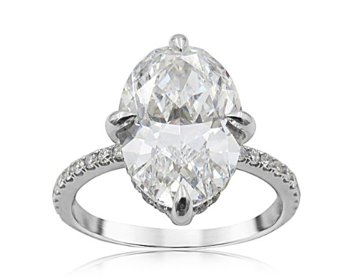 Alson Signature Collection Platinum Micro Pave Engagement Ring, Featuring a 4.02ct Oval Diamond, E Color, VS1 Clarity, GIA Certified, Accented with 70 Round Diamonds =.75ctw|