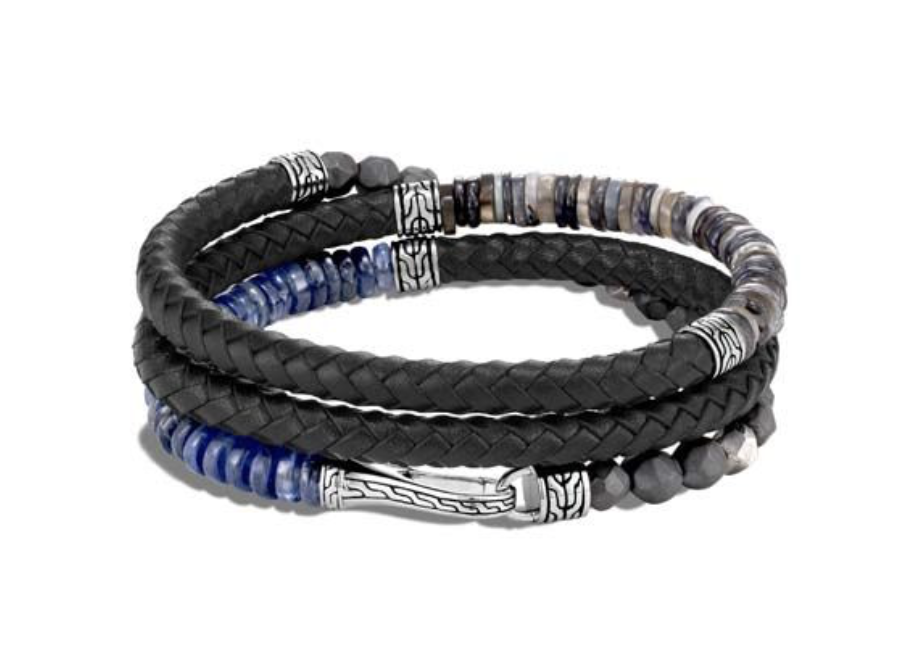 John Hardy Men's Silver Classic Chain on 6MM Triple Wrap Black Leather Bracelet, Featuring 6MM Opal, Kyanite, Iolite, Grey Moonstone, Hematite and Silver Calcite Beads