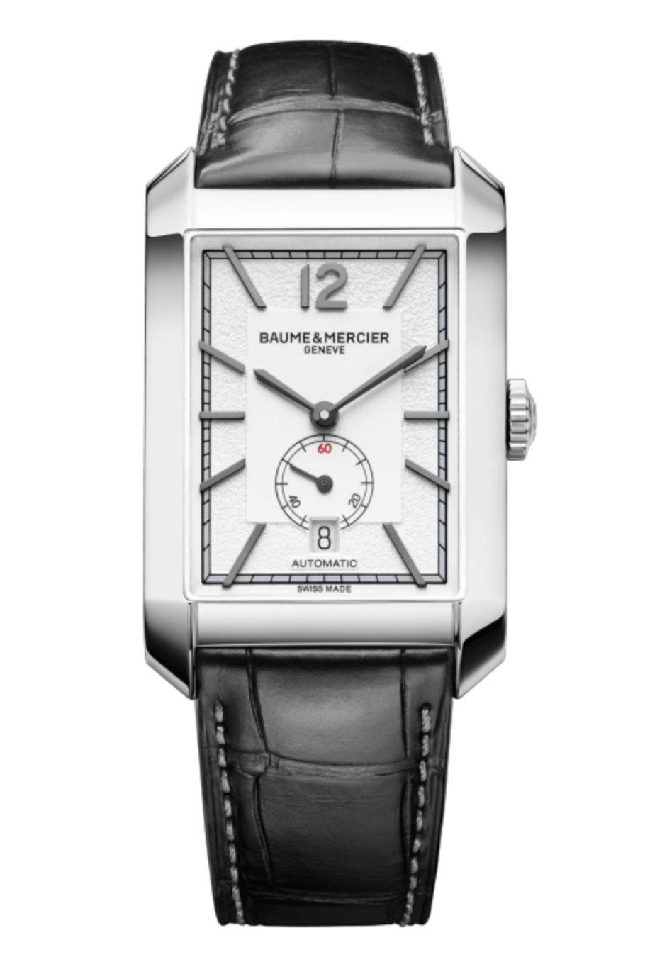 Baume & Mercier Hampton Men's Steel Watch, with an Opaline Silver Dial, Black Alligator Strap and Automatic Movement 