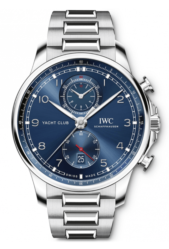 IWC Portugieser Yacht Club Chronograph 44.6MM Steel Watch, with a Blue Dial and Automatic Movement with 68 Hours Power Reserve|